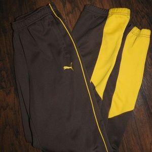 Puma Track Jogging Running Pants Brown Yellow